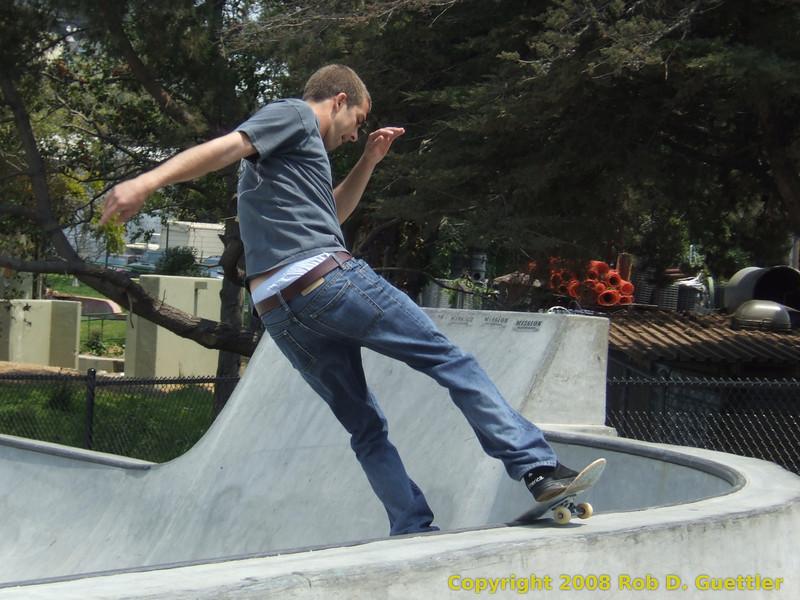 Boardslide on quarter pipe. Potrero del Sol Skatepark. Potrero Ave. and 25th St., Potrero Hill District, San Francisco, California.