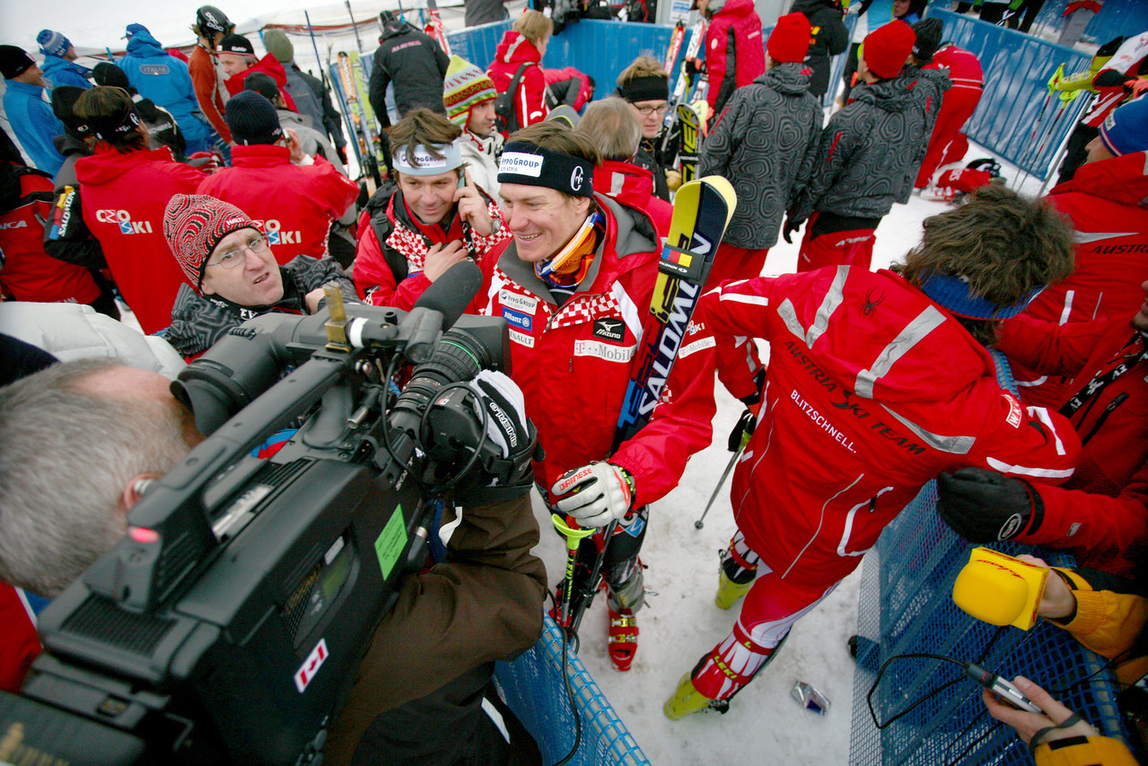 Ivica kostelic providing an interview after winning