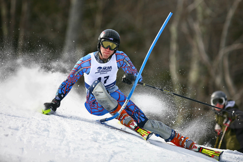 Nationals provided a spectacular group of skiers to watch as shown by the agressive technique of Middlebury's Clayton Reed.