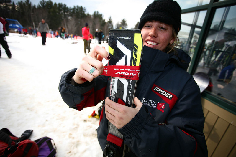 Bates Skier Emily Sampson wraps up her race pair before heading back to Maine.