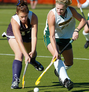 Skidmore's Christine Kemp battles with The College of New Jersey's Christy Wham during Saturday's NCAA Divison III semifinal. Ed Burke 11/13/10