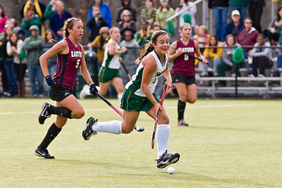 Skidmore's Kaite Potter looks for an opening while being followed by Eastern's Sarah Garber during their game Sunday. Photo Eric Jenks 11/14/10