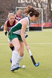 Skidmore freshman Elaine Grazulis handles the ball while an Eastern opponent moves in during their game Sunday. Photo Eric Jenks 11/14/10