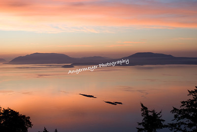 Sunrise over Orcas Island taken from Saturna Island  Java Islets