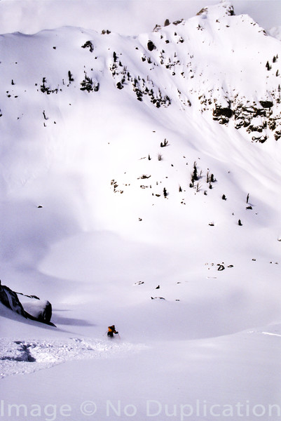 Backcountry skier in the Sawtooths.