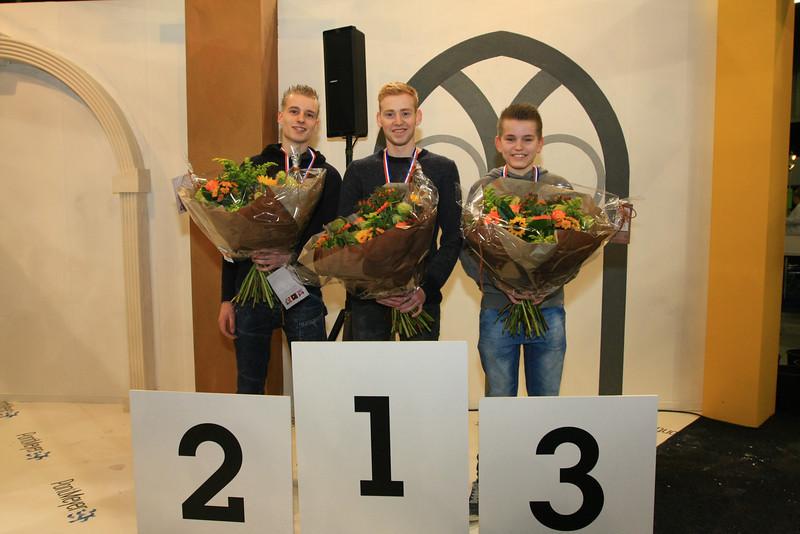 V.l.n.r. Jeroen Kerste - 2e plaats, Wim Hellings - 1e plaats, Ivo van den Bekerom - 3e plaats -- NK Stukadoren