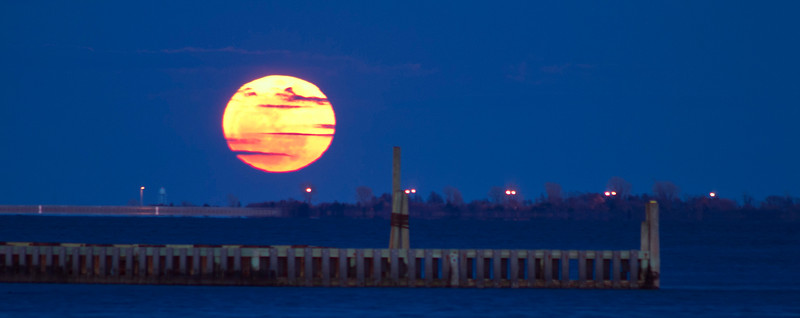 Super Moon March 19, 2011 Viewed from the Wellwood Dock Lindenhurst, New York Panoramic