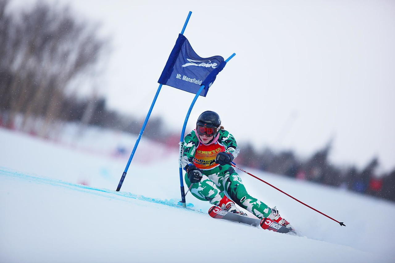 Photo Credit: Lincoln Benedict<br /> <br /> Courtney Hammond adds another win to her already impressive roster at the University of Vermont carnival Giant Slalom on Friday.