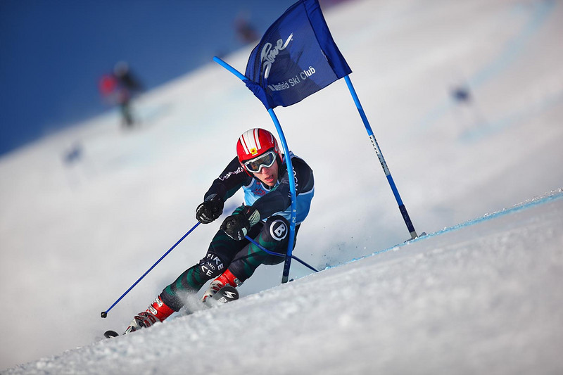 Photo Credit: Lincoln Benedict<br /> David Donaldson winning his home University of Vermont carnival Giant Slalom event on Friday.