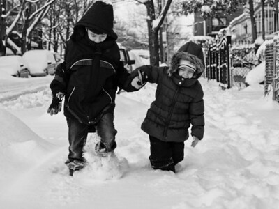 Trudging to school in snow