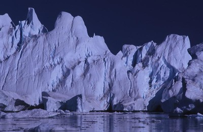Icebergs in Disko Bay, Greenland.