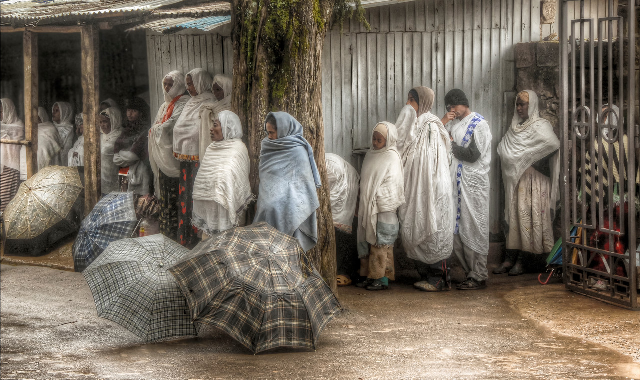 Worshippers at St. Mary's Church, Mt. Entoto, Ethiopia - HDR.