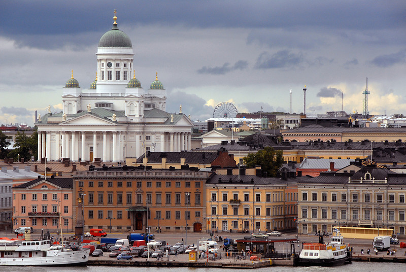 Waterfront and Lutheran Cathedral, Helsinki, Finland.