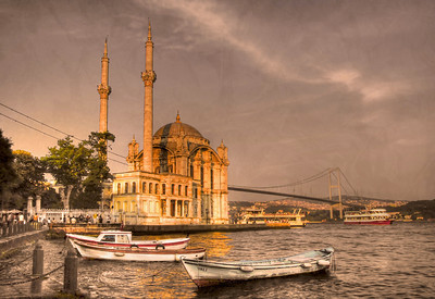 The Ortakoy Mosque and the Bosphorus Bridge, Europe (near side) and Asia - HDR.