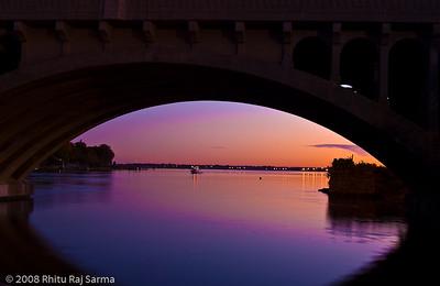Stratford Harbor at dusk