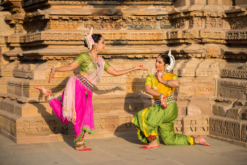 Namrata Mehta and Dhruvi Saachi Jaiin of Kaishiki, which was started by Odissi dance Guru Smt Daksha Mashruwala.<br /> <br /> Khajuraho Dance Festival, Feb 2017. Colorful and brilliant classical dance forms of India with roots in the rich cultural traditions offer a feast for the eyes during a weeklong extravaganza. Khajuraho Temples in Madhya Pradesh are popular for their architectural wonders and sculptures.