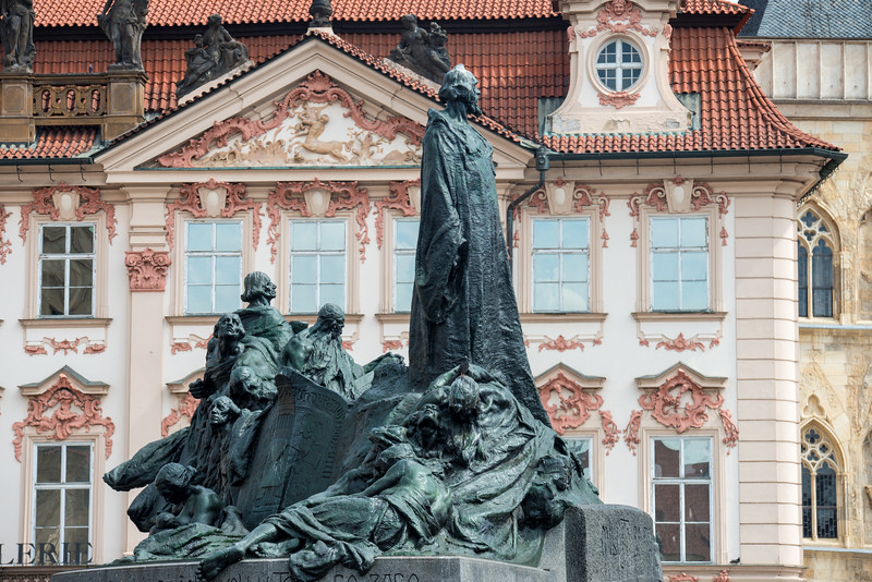 Pomník mistra Jana Husa Prague, Czech Republic.<br /> The Jan Hus Memorial stands at one end of Old Town Square, Prague in the Czech Republic. The huge monument depicts victorious Hussite warriors and Protestants who were forced into exile 200 years after Hus, and a young mother who symbolises national rebirth. The monument was so large that the sculptor designed and built his own villa and studio where the work could be carried out