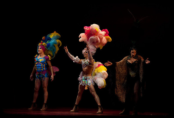 "Will Swenson, Nick Adams and Tony Sheldon in ""Priscilla Queen of the Desert"" as seen on BroadwayWorld.com"