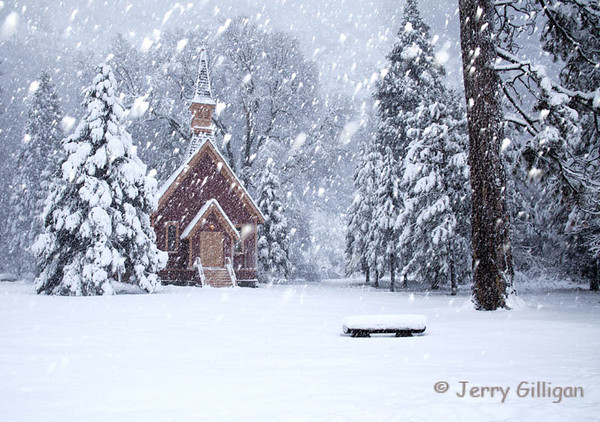 Yosemite Chapel and Snow