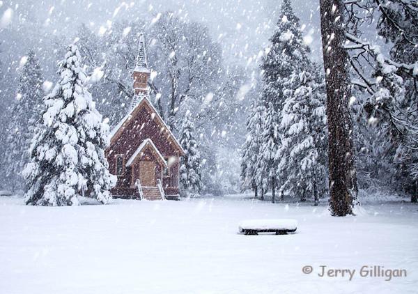 Yosemite Chapel and Snow