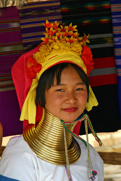 Young woman from Long Neck tribe in Northern Thailand.<br /> Photo by John Cooper