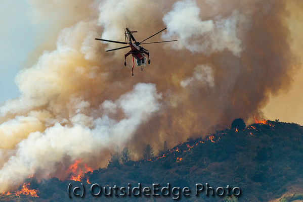 """Flight to Hell"" - - - Copter 795 from the Sierra National Forest approached the ridge above Dry Gulch near El Portal, CA during the Motor Fire. August 2011."