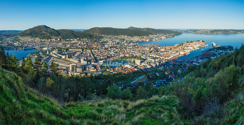 A panoramic view of Bergen from Mount Floyen, Norway