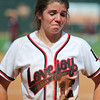Lovejoy Senior Third Baseman Ginger Hervey (12) fights back the tears after losing in the Texas UIL 4A State Finals at Red and Charline McCombs field on the University of Texas campus in Austin, Texas on Saturday June 1, 2013.  Buda Hays won 11-8. Neil Fonville / Texas Sports Photos