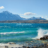 Waves crash on the shore of Lake Sarmiento, Torres del Paine, Patagonia, Chile