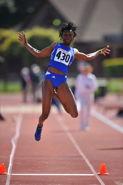 04 May 2008: Simon Fraser's Ruky Abdulai during the Payton Jordan Cardinal Invitational at the Cobb Track and Angell Field in Stanford, CA.   Abdulai finished second in the women's long jump, leaping 6.4 meters.