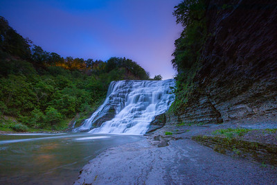 Ithaca Waterfall - Photographed in complete darkness at 4:30 am.  Exposure duration of 30 seconds.