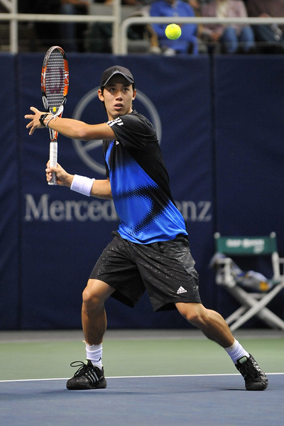 21 February 2008: Kei Nishikori of Japan during his second round match against top seed Andy Roddick of the United States in the SAP Open at the HP Pavilion in San Jose, CA.