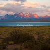 Sunrise on Torres del Paine massif and Lake Sarmiento, Patagonia, Chile