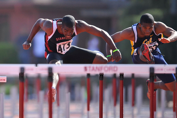 04 May 2008: Stanford's Myles Bradley during the Payton Jordan Cardinal Invitational at the Cobb Track and Angell Field in Stanford, CA.  Bradley finished second in the men's 110 meter hurdles with a time of 13.78 seconds.