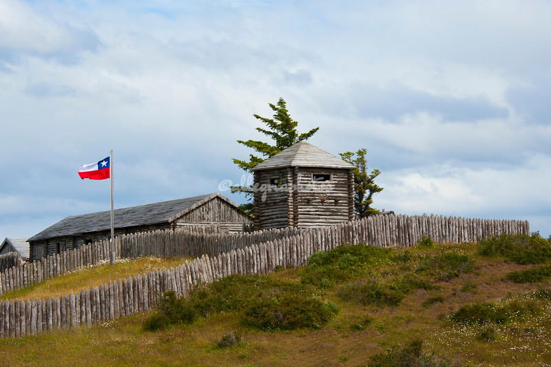 Fort Bulnes, overlooking the Straits of Magellan and the beginning of Drake's passage, Punta Arenas, Patagonia, Chile