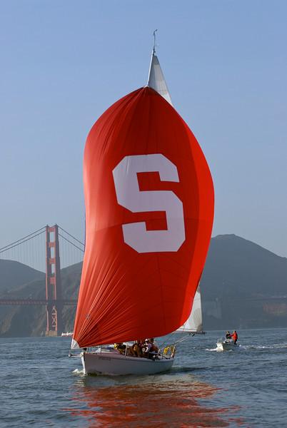 "27 November 2007:  Stanford varsity sailing team cruising to victory of Cal during the ""Big Sail"" at the San Francisco Yacht Club in San Francisco, CA."