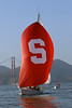 "27 November 2007:  Stanford varsity sailing team cruising to victory of Cal during the ""Big Sail"" at the San Francisco Yacht Club in San Francisco, CA."