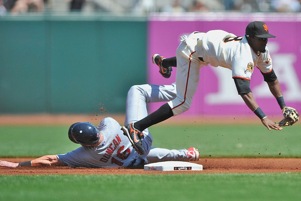 12 April 2008:  Chris Duncan (16) takes out Eugenio Velez (8) to break up the double play after being forced out at second during the St. Louis Cardinals' 8-7, 10-inning, victory over the San Francisco Giants at AT&T Park in San Francisco, CA.