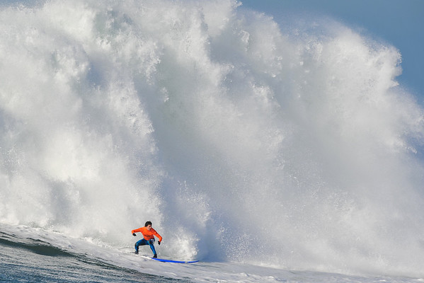 12 January 2008: Champion Greg Long during the finals of the 2008 Mavericks Surf Contest in Princeton-by-the-Sea, CA.  Photo by Daniel Harris.