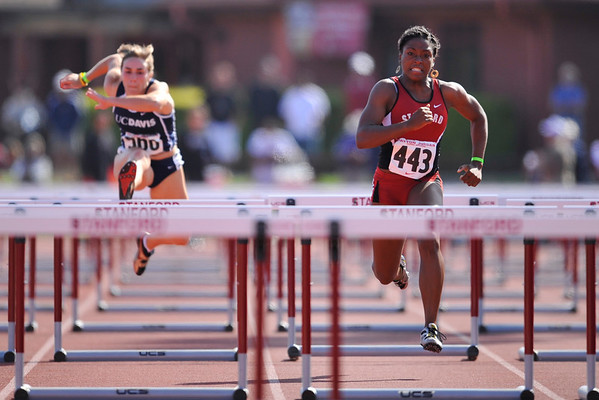 04 May 2008: Stanford's Deborah Akinniyi during the Payton Jordan Cardinal Invitational at the Cobb Track and Angell Field in Stanford, CA.  Akinniyi finished second in the women's 100 meter hurdles with a time of 13.79 seconds.