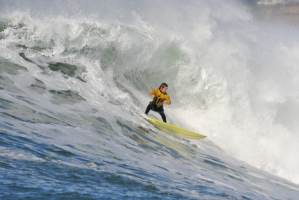 """12 January 2008: Grant """"Twiggy"""" Baker during the semifinals of the 2008 Mavericks Surf Contest in Half Moon Bay, CA."""