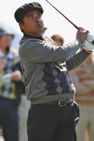 06 February 2008: George Lopez watches his drive from the 18th tee during the 3M Celebrity Challenge Shoot-Out competition at the Pebble Beach Golf Links, a preliminary event preceding the AT&T Pebble Beach National Pro-Am Golf Tournament in Pebble Beach, CA.