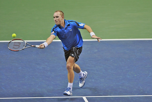 18 February 2008: Steve Darcis of Belgium during his loss to Jesse Levine of the United States in the first round of the SAP Open at the HP Pavilion in San Jose, CA.