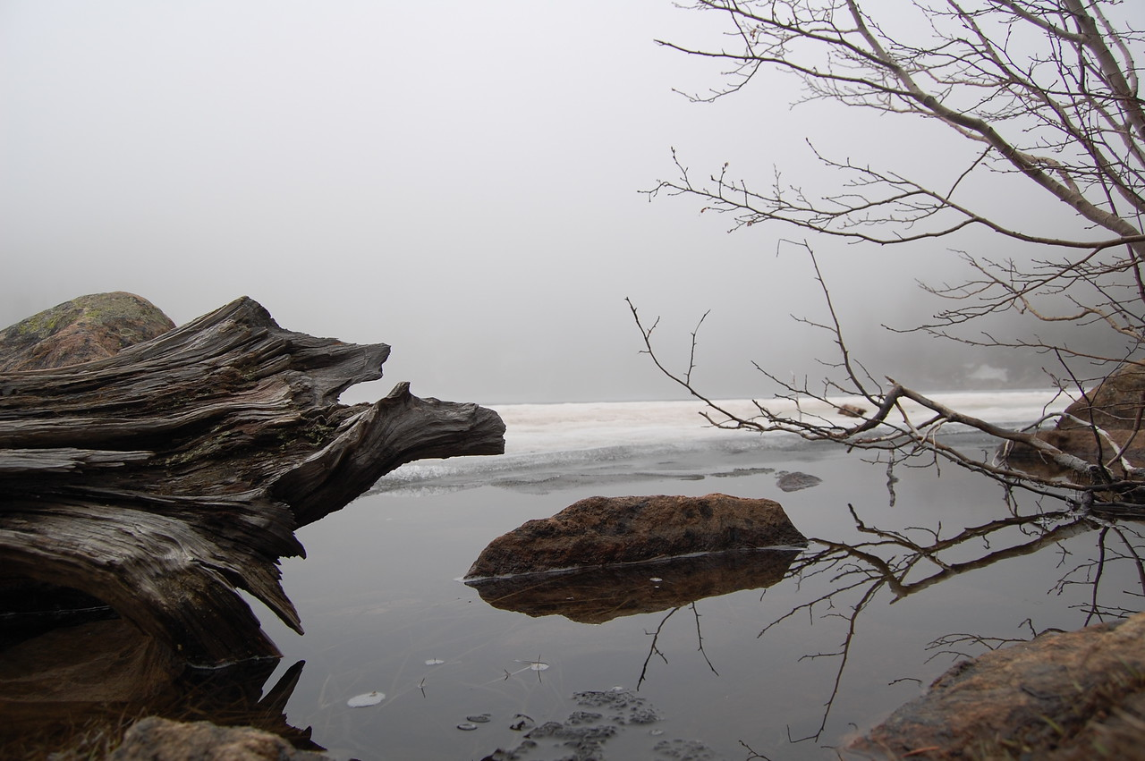 We hiked to this semi frozen lake in Rocky Mtn National Park. It was quite foggy which made for great photo ops.