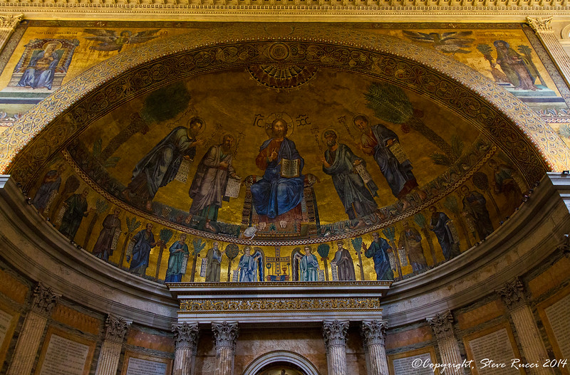The mosaic in the apse of St. Paul's basilica, Rome, Italy.