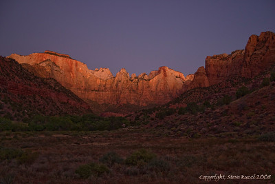 Zion National Park - The Towers of the Virgin at dawn.