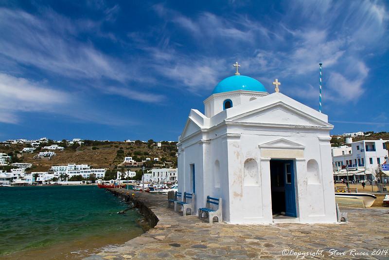 Small chapel near the harbor in Mykonos, Greece