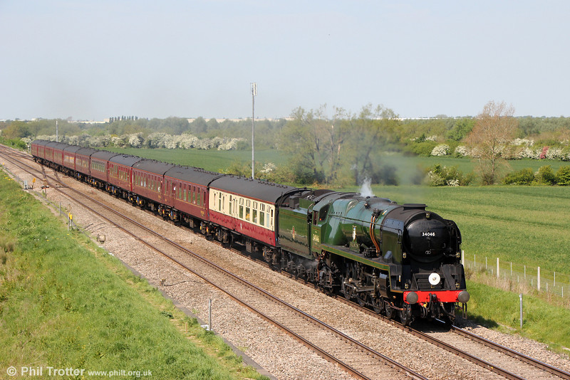 BR Rebuilt Light Pacific 4-6-2 no. 34046 'Braunton' at Bourton with the Railway Touring Company's 1Z37, 0934 Gloucester to Worcester via Oxford, 'The Welsh Borders' on 17th May 2014.