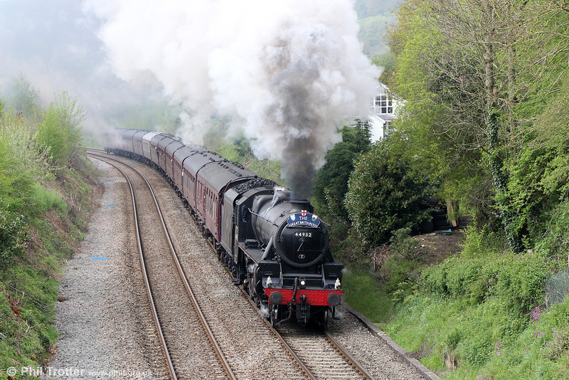 LMS Class 5MT 4-6-0 no. 44932 at Llanfihangel with The Railway Touring Company's 1Z70, 0816 Bristol Temple Meads to Grange-over-Sands, the 'Great Britain VII' on 28th April 2014.
