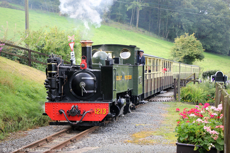 VoR 2-6-2T no. 1213 at Nantyronen with the 1400 Aberystwyth to Devil's Bridge on 16th September 2017.
